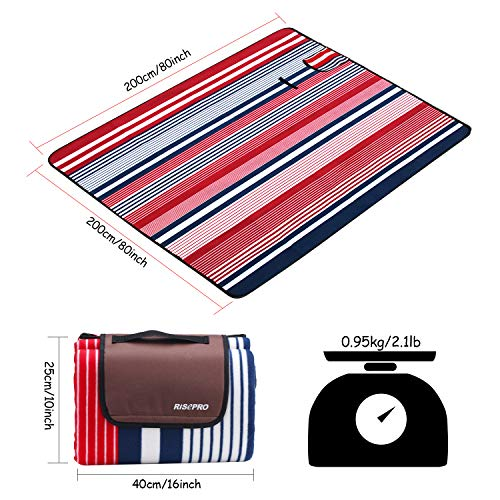 RISEPRO 200 x 200cm Picnic Blanket Mat Extra Large, Outdoor Blanket with Waterproof Backing for Camping, Park, Beach, Hiking, Family