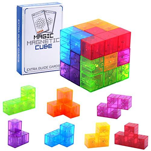 WorWoder Kids Magnetic Building Blocks Magic Magnetic 3D Puzzle Cubes, Set of 7 Multi Shapes...