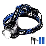 Headlamp Rechargeable, Linkax Super Bright LED Head Lamp 4400 mAh Headlight 3 Modes