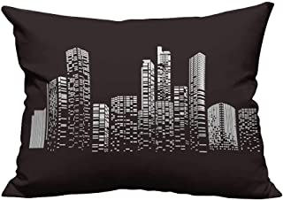 YouXianHome Print Bed Pillowcases Design buil City at Night City Scene on Night time urb Washable and Hypoallergenic(Double-Sided Printing) 13.5x19 inch