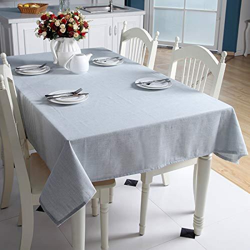DJUX Simple Hilo teñido de algodón y Lino Liso Color sólido geométrico Rectangular Mantel Mesa de café Mantel Cubierta Toalla 140x180cm