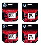 4 cartuchos de tinta originales HP F6V25AE HP 652 HP652 para HP Deskjet Ink Advantage 1115, 4 unidades, color negro, potencia: BK aprox. 360