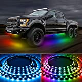 TACHICO Car LED Underglow Lights,47.24ft Exterior Color Chasing Lights with App and Remote Control,Waterproof,Sync to Music,16 Million Colors,200 Color Scene Mode for Trucks,SUVs,Jeep,ect.DC12V