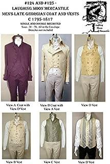 Men's Late-Georgian Dress Coat Cutaway Tailcoat Vest Waistcoat c.1795-1817 Sewing Pattern #124/125 (Pattern Only)