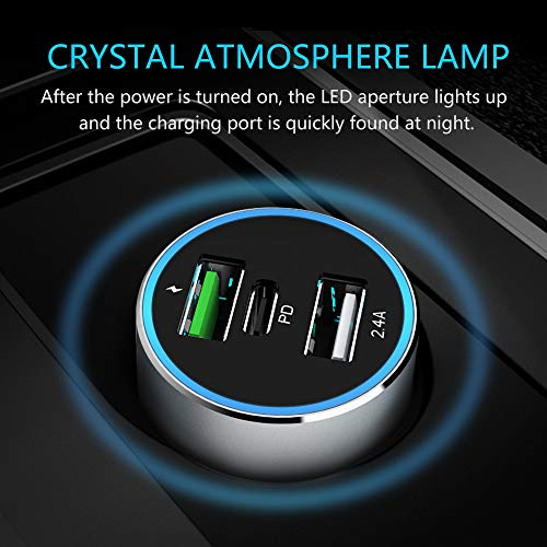 Car Charger with USB Type C PD and Dual USB Quick Charge 3.0 ,the PD Port 36W Output and Dual USB Port 48W Output ,for XR XS X, s9 s8 Edge Plus,Note 9 8, [PD Chipset-ENBL],All Metal -Silver