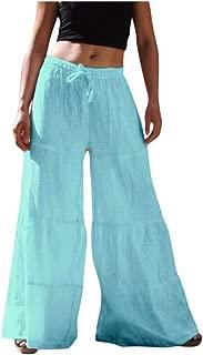 Pants for Women Solid Colour Elastic Waist Cotton-Blend Broad-Legged Pants