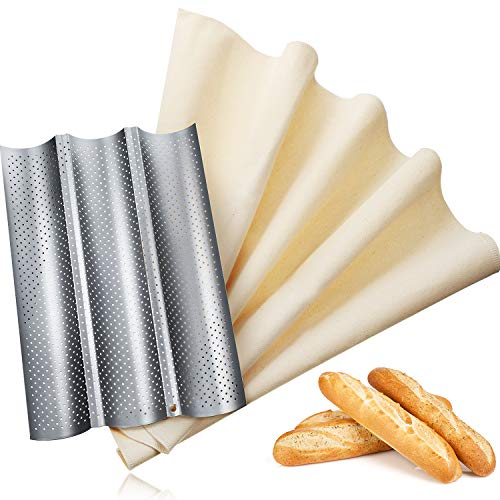 Bread Baking Kit, Nonstick Perforated Baguette Pan and Bakes Dough Couche, French Bread Loaf Bake Mold Oven Toaster Pan, Large Pastry Proofing Cloth for Baking Bread Use (M, Silver)
