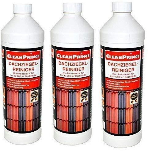 CleanPrince 3 x 1 Liter = 3 Liter Dachziegelreiniger Moos Grünspan Dach Reiniger Dachziegel-Reiniger Ziegeln Ziegel engobierte lasierte Ziegeln Bitumen Tonziegeln Betonziegeln