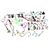 BodyJ4You Body Piercing Kit 50 Pieces for Belly Nose Ring Barbell Studs 14GA 16GA 18GA Pack