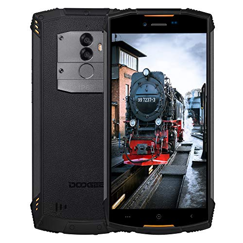 DOOGEE S55 Rugged Cellulare in Offerta 4G, Dual SIM Android 8.0 IP68 Smartphone Antiurto, 4GB RAM+64GB ROM, 13.0MP+8.0MP+5MP, 5,5 inch 5500 mAh, Face ID GPS Telefono, Arancia