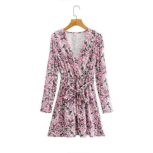 RuaRua Damen Kleid,Casual Fashion Pink Flowers Print Kleider, Mit Slash Langarm Female V-Ausschnitt A-Line Kleid, Pink, L.