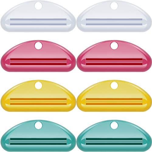 Chengu 8 Stück Zahnpasta Tube Squeezer Dispenser Zahnpasta Clips für Badezimmer (Rot, Grün, Gelb, Weiß)