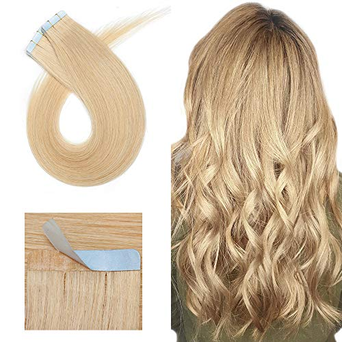 SEGO Extension Adhesive Cheveux Naturels Bande - 50 CM 24#Blond Naturel [2.5g X 10 Bandes] - Adhésif Vrai Humain Invisible Tape In Remy Hair