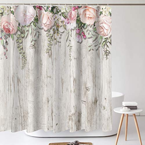 Tititex Spring Pink Flowers Shower Curtain Sets, Blossoming Floral Rose on Rustic White Wood Bathroom Decorative 70 X 70 Inch Polyester Waterproof Fabric Bathroom Curtain with Hooks