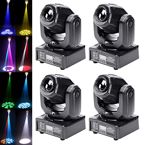 50W Moving Head Stage Lights, U`King Portable LED 8 Gobo 8 Pattern Spotlight by DMX 512 Control 9/11 Channel for Disco Party Lights Shows - 4 Pack