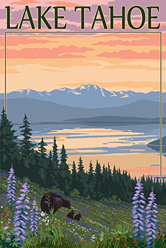 Lake Tahoe - Bear and Cubs with Flowers (9x12 Art Print, Wall Decor Travel Poster)