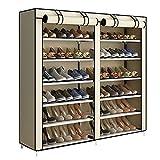 YAYI Schuhregal 6-stufige Schuhablage Platz für bis zu 36 Paar Schuhe mit Nicht gewebtem Stoffbezug,Beige