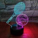 Raquette De Tennis 3D Visual Night Light Creative Seven Color Touch Charge Led Stéréo 3D Luminaires Usb Led Enfants Lampe