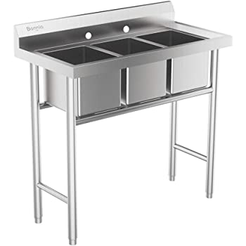 Amazon Com Bonnlo 3 Compartment 304 Stainless Steel Utility Sink Commercial Grade Laundry Tub Culinary Sink For Outdoor Indoor Garage Kitchen Laundry Utility Room Home Improvement