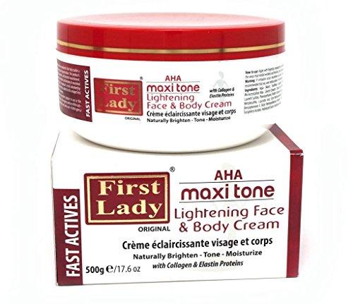 First Lady Crema facial y corporal AHA Maxi Tone, de 500 g, con proteínas de colágeno y elastina