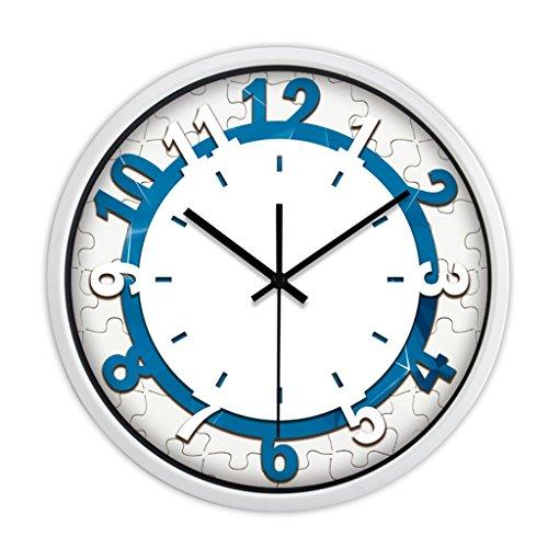 Horloges Métallique Murale Rond Quartz et Montres Balayer Les Secondes Muet Silencieux Convient pour la Chambre et Le Salon (Color : Blue-A, Size : 30.5cm(12inch))
