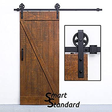 SMARTSTANDARD 6.6 FT Sliding Barn Door Hardware (Black)(Big Industrial Wheel Hanger)(1 x 6.6 Foot Rail)