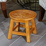 DTY Indoor Living Fairplay Carved Wooden Step Stool, Floral, Natural