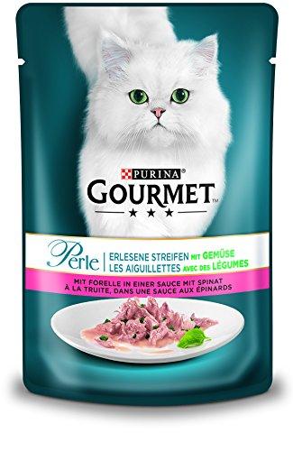 PURINA GOURMET Perle Erlesene Streifen mit Gemüse Katzenfutter nass, mit Forelle und Spinat, 24er Pack (24 x 85g)