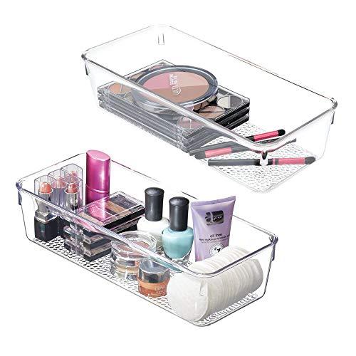 mDesign Badezimmer-Schubladenablage, Kunststoff, transparent, 2 Stück 12 x 5 x 3 farblos
