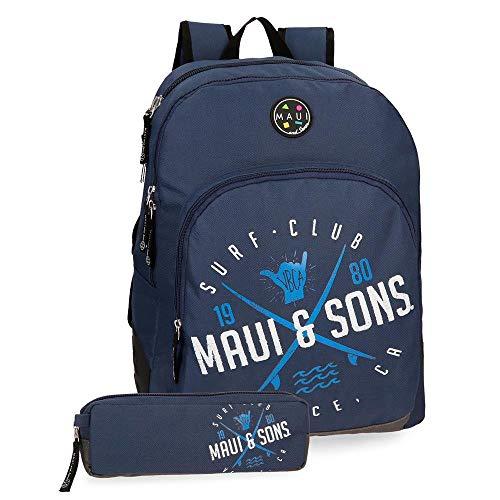 Maui & Sons Shaka Mochila adaptable doble compartimento + estuche escolar, color Azul Marino