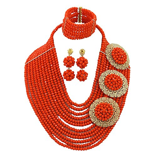 Africanbeads 12 Rows 6mm Nigerian Wedding Beads Necklace Orange Crystal African Jewelry Set