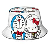 Doraemon y Hello Kitty Bucket Sun Hat para Hombres Mujeres -Protection Packable Summer Fisherman Cap para Pesca, Safari, Paseos en Bote en la Playa Black-YV