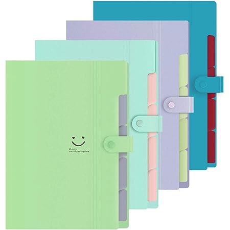 Purinko Set of 4 File Case, A4 Document Storage Box, File Folders, Document Clips, 5 Classifications, Snap Type, Waterproof (Green, Green, Green, Green, Purple)