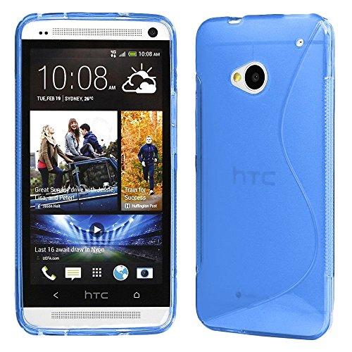 ebestStar - Cover Compatibile con HTC One M7 Custodia Protezione S-Line Design Silicone Gel TPU Morbida e Sottile, Blu [Apparecchio: 137.4 x 68.8 x 9.33mm, 4.7'']