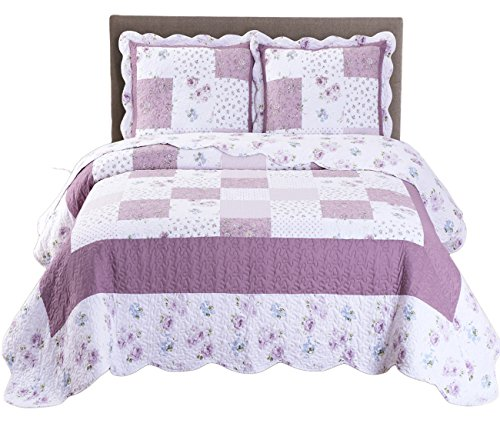 Royal Tradition Ventura Floral Printed Microfiber Oversized King/California King 3PC Quilt Set, Shades of Purple