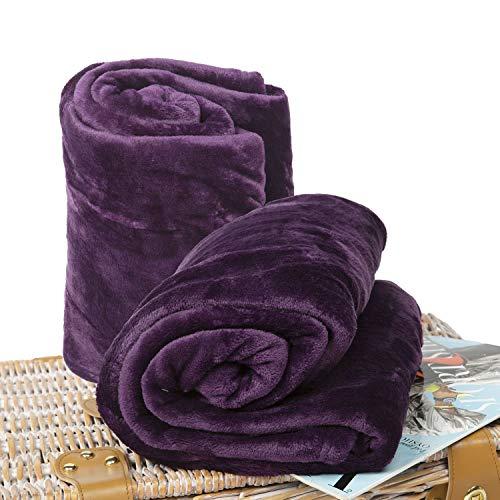 BCASE Pack 2 Coperta in Microfibra Peluche, Morbida e Confortevole, 100% Poliestere, 130x160 cm, per Divano o Letto, Ideale per Protezione dal Freddo, in Colore Viola.