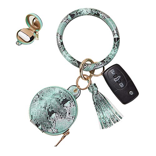 Cebostin Airpods Case Cover with Keychain Bracelet Key Ring& Makeup Mirror,PU Leather Airpods 1 2 3...