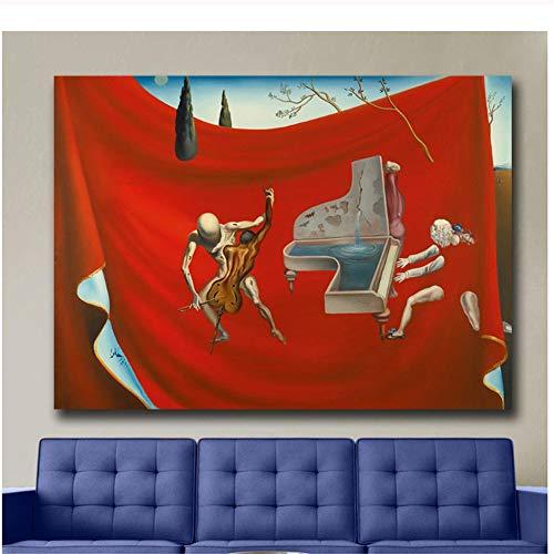 yhyxll Salvador DaliMusic The Red Orchestra Pintura de Lienzo para Sala de Estar Decoración para el hogar Pintura al óleo sobre Lienzo Arte de pared-70x100cm Sin Marco