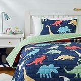 Amazon Basics Kids Dinosaur Squad 100% Cotton Reversible Quilt Bedspread - Twin, Dinosaur Squad/ Leafy Green