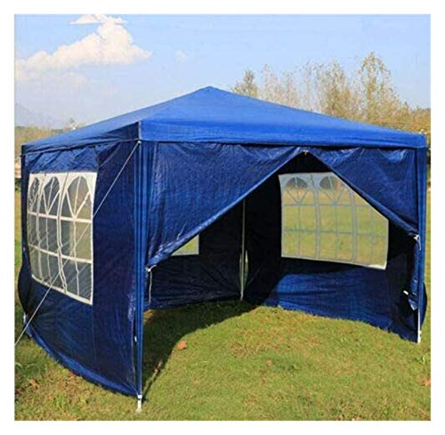 Plztou 3x3m Gazebo Tent Heavy Duty Canopy Perfect For BBQ, Picnic, Party (4 Sides, Blue)