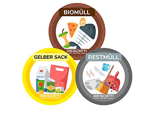 Resorti Aufkleber 3er Set für Abfall- und Mülltrennung mit kinderfreundlichen Symbolen (Restmüll, Gelber Sack, Biomüll)