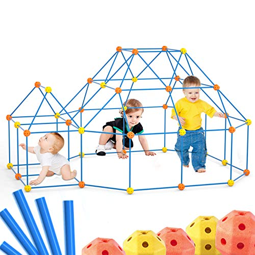 Lucky Doug Fort Building Kits for Kids, Building Fort STEM Toys with 140 Pieces DIY Castles Tunnels Play Tent Rocket Tower Indoor & Outdoor for Kids Boys Girls Ages 6+