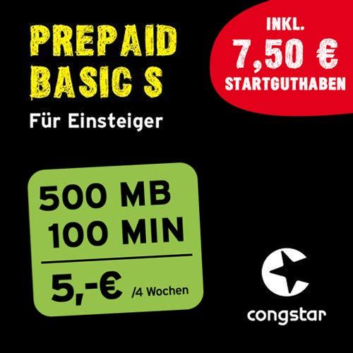 congstar Prepaid Basic S Paket [SIM, Micro-SIM und Nano-SIM] – Das Prepaid-Paket für Einsteiger in guter D-Netz-Qualität