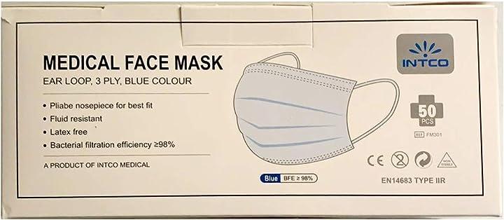 Mascherina type 2r  - monouso formato per viso , colore: blu intco- 50 pezzi MASK-X50