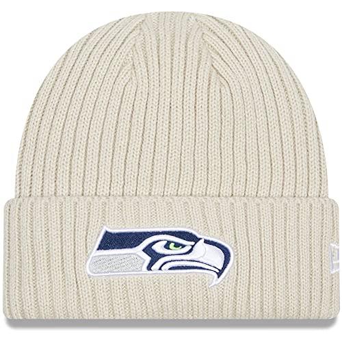 New Era Men's Cream Seattle Seahawks Core Classic Stone Cuffed Knit Hat