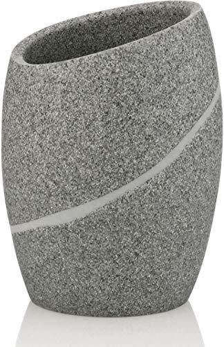 kela 20256 Porte-Brosse à Dents Talus en Poly Gris, Plastique, 8 x 8 x 11 cm