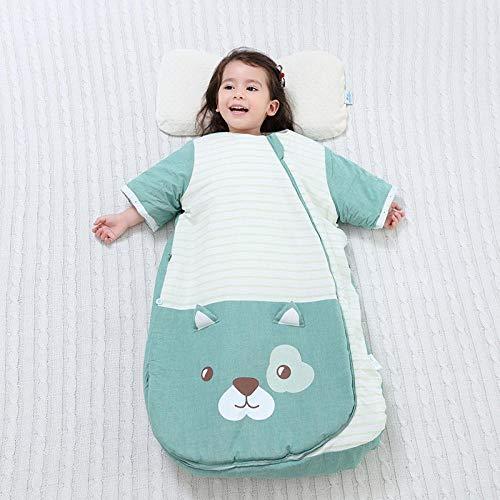 flqwe Baby Slaap Tassen 0-6 Maanden, Veilige Nachten Katoen Baby Slaap Tas, Constante temperatuur vier seizoenen baby slaapzak, katoen baby anti-kick quilt-Groen-verdikking_M-70cm