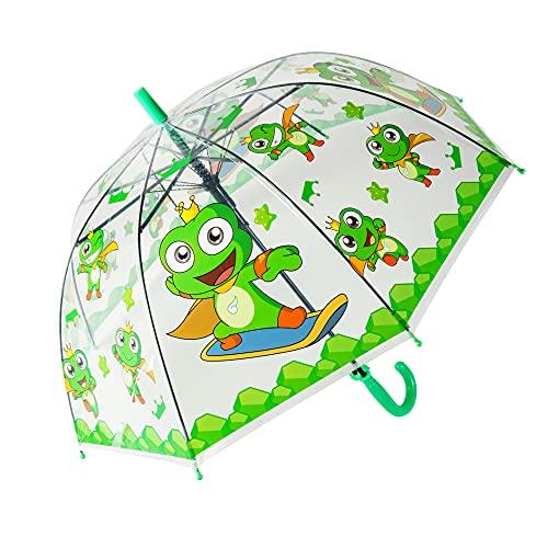 yui Paraguas tipo campana Apolo paraguas automático recto creativo dibujos animados lindo paraguas para niños luz transparente animales insectos paraguas playa (color: verde)
