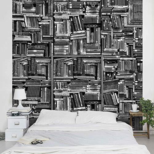 Vliestapete Shabby Bücherwand schwarz weiß, HxB: 240cm x 240cm