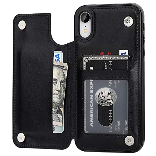 OT ONETOP iPhone XR Wallet Case with Card Holder, Premium PU Leather Kickstand Card Slots Case,Double Magnetic Clasp and Durable Shockproof Cover for iPhone XR 6.1 Inch(Black)